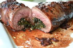 Souffle Bombay: Kale & Bacon Stuffed Flank Steak with a Red Wine Reduction