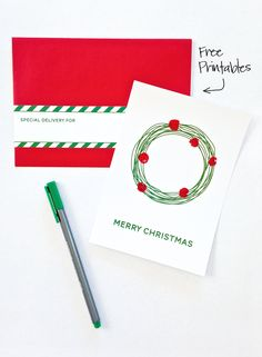 Free Printable Fingerprint Holly Cards -perfect for Christmas!