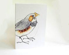 Finch Card Greeting Card Bird Art Card by BridgetFarmerArtist