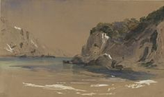 Corfu - Palaiokastritsa, 1862,  Pencil, Pen and Watercolour on paper,  33.5 x 55 cm, Gennadios Collection, Athens