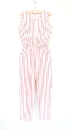 ea8fdade21e3 vintage jumpsuit   striped jumpsuit   80s jumpsuit   one piece pant suit    vintage romper   medium