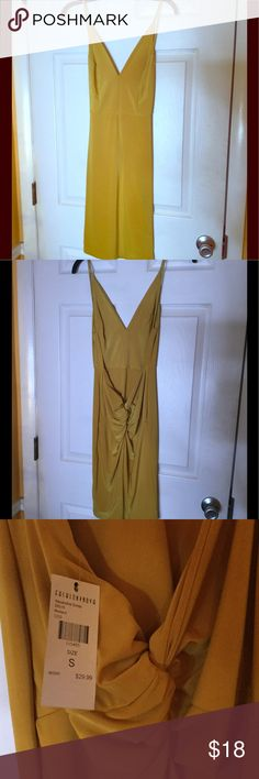 NWT - FASHION NOVA - SLINKY MUSTARD DRESS NWT. spaghetti straps with low ruching in the back.  V neckline.  Knee length.  ALEXANDRIA DRESS. Currently sold out on Fashion Nova.  See stock photos. Fashion Nova Dresses