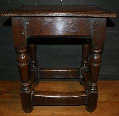 Late 19th C English oak joint stool. 1890