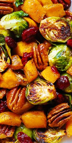 Thanksgiving Side Dish: Roasted Butternut Squash and Brussel.- Thanksgiving Side Dish: Roasted Butternut Squash and Brussels sprouts with Pecans and Cranberries Best Thanksgiving Side Dishes, Thanksgiving Dinner Recipes, Holiday Side Dishes, Side Dishes Easy, Thanksgiving Decorations, Thanksgiving Desserts, Thanksgiving 2020, Thanksgiving Crafts, Thanksgiving Vegetable Sides