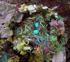 Knitted Baby Photo Prop Nest- Woodland nest