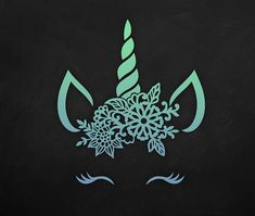 SVG Unicorn head with floral crown Unicorn Face / Eyelashes