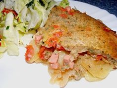 "The German potato dish ""Pillekuchen or Pillekooken, Pillekauken, Pinnekuchen, Pinnekeskuchen or Leinewebers Pfannkuchen"", is a German potato specialty from the region Nord-Rhine Westfalia (Nordrheinwe"
