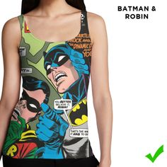 f08418af004dd Batman   Robin tank top for ladies. This is a mockup for the crowdfunding  campaign of What Heroes Wear. WHW aims at offering women superhero clothing  with ...