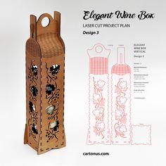 Elegant wine box vertical. Lasercut vector model, project plan. Design 3. Grapevine