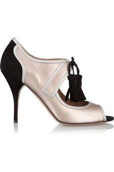 Valentino Metallic leather and suede pumps   THE OUTNET