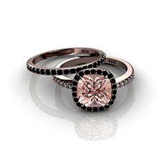Looking for a black diamond engagement ring?  - #blackdiamondgem Morganite and Black diamond Halo Bridal Set in 10k Rose Goldby JeenJewels