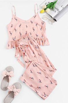 Pink Flamingo Print Ruffle Cami Crop Top and Drawstring Pants PJ Set Summer Women Sleeveless Belted Sleepwear Pajamas Sets Cute Sleepwear, Sleepwear Sets, Sleepwear Women, Cotton Sleepwear, Cozy Pajamas, Summer Pajamas, Pyjamas, Plaid Pajamas, Silk Pajamas