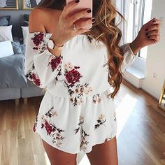 Off Shoulder Backless Romper Floral Print Cute Rompers, Rompers Women, Jumpsuits For Women, Mode Outfits, Outfits For Teens, Fashion Outfits, Cute Fashion, Look Fashion, 90s Fashion