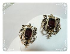 Coro Red Earrings  Vintage Regal Clips  by bodaciousjewels on Etsy, $24.00
