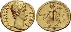 NumisBids: Numismatica Ars Classica Auction Lot 421 : The Roman Empire Octavian as Augustus, 27 BC – 14 AD. Ancient Romans, Gold Coins, Roman Empire, Roman Hairstyles, Copper Coin, Auction, Artemis, Seals, Rings
