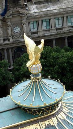 Telhado do Teatro Municipal do Rio de Janeiro. Em frente, o prédio com janelas verdes, é o Museu Nacional de Belas Artes.