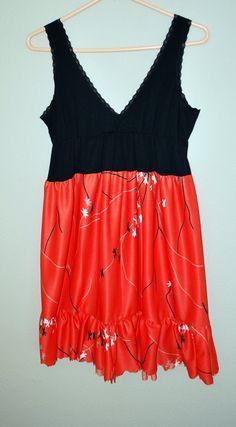 Tank dress upcycled from tank top Medium CLEARANCE by oreomocha, $18.00