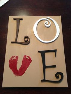 Painted canvas and wooden letters with foot print <3
