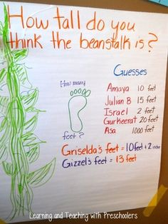 Jack and the Beanstalk measurement activities Fairy Tale Activities, Measurement Activities, Rhyming Activities, Traditional Tales, Traditional Stories, Eyfs Jack And The Beanstalk, Fairy Tales Unit, Preschool Classroom, Preschool Ideas