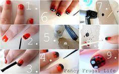 DIY ladybug nail manicure