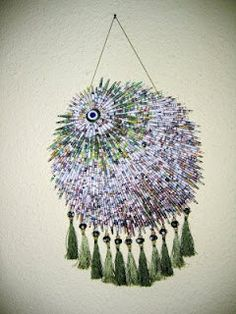 Paper Beads Wall Hanging Evil Eye Recycling by neduk on Etsy, $170.00