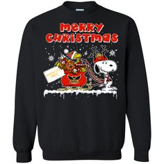 Kennesaw State Owls Ugly Christmas Sweaters Merry Christmas Snoopy With Sleigh Hoodies Sweatshirts