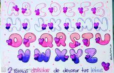 Hand Lettering Alphabet, Doodle Lettering, Graffiti Lettering, Lettering Design, Letras Comic, Disney Letters, Bullet Journal Minimalist, Calligraphy Types, Alphabet Letters Design