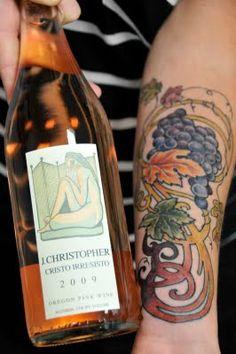Wine tattoo by Jason Leisge at Oddball Tattoo in Portland. Wine Tattoo, Am I Crazy, Wine Art, Badass Tattoos, Portland, Tatting, Body Art, Ink, Brittany