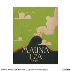 Hawaii Mount Loa Volcano Travel Poster Wood Print