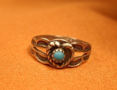 CHILDS RING SILVER and Turquoise Size 11/2 by ChristophCreations, $25.00