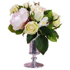 Faux rose and peony arrangement in a footed metal vase. Product: Faux floral arrangementConstruction Material: Polye...