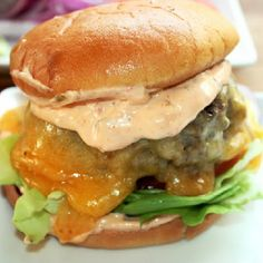 Big Goo's Sausage Burger with Homemade Spicy Thousand Island Dressing