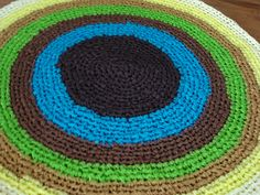 """Ready to be shipped today - Gorgeous one of a kind Handmade CROCHET Rug From RIBBON - Multicolour rug - Floor Rug Round rug - 25"""" diameter by ufer on Etsy"""