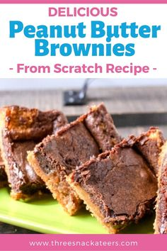 Homemade desserts are the best! These tasty chocolate peanut butter brownies are made from scratch.  This easy recipe uses cocoa powder for a rich chocolate base and is layered with a decadent peanut butter swirl. Chocolate Peanut Butter Brownies, Chocolate Snacks, Delicious Chocolate, Vegetarian Chocolate, Candy Recipes, Brownie Recipes, Snack Recipes, Dessert Recipes, Homemade Peanut Butter Cups