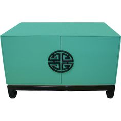Featuring a turquoise finish, black lacquer feet, and a double happiness symbol, this stainless steel cabinet is a stylish addition to your living roo. Chinese Cabinet, Stainless Steel Cabinets, Chinese Furniture, New Chinese, Asian Decor, Joss And Main, Home Accents, End Tables, Accent Decor