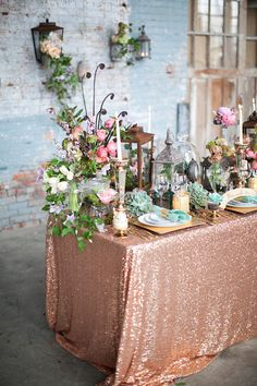 Blush sequin tablecloth setup from etsy