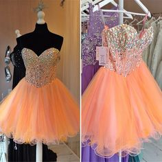 Charming Orange Short Prom Dresses,Sweetheart Short Dresses,Backless Beaded