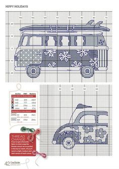 VW Kombi, beetle and caravan Cross stitch 1