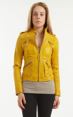 Women's Yellow Leather Biker Jacket. The PIA is a great fitting jacket with pockets and zips. Sizes 8 to 22 and also available in Black.