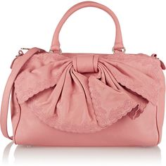 REDValentino Bow-embellished leather tote ($413) ❤ liked on Polyvore featuring bags, handbags, tote bags, pink, pink leather handbag, red leather purse, leather tote, red leather handbag and leather handbags