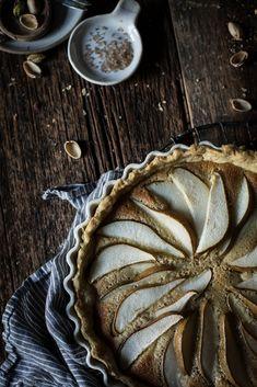 pear, pistachio, frangipane tart