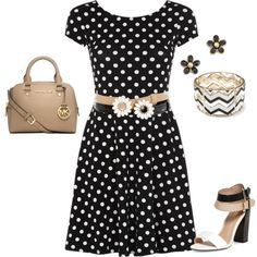 Black and White polka dot dress with tan, black & white accessories