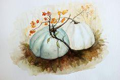 pumpkin patch watercolor Art Print