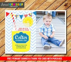 Mason Jar Boy Lemonade Birthday Photo Invitation - Printable - Picnic - Free Thank You Card and Pennant Banner - Find us on Facebook! https://www.facebook.com/pages/Sweet-Gumdrop-Creations/157015321151666