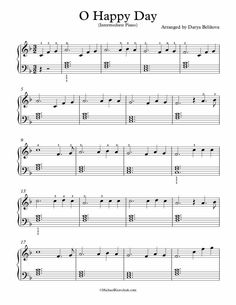 Intermediate Piano Arrangement Sheet Music – O Happy Day Guitar Chords For Songs, Piano Songs, Piano Music, Beginner Piano Lessons, Music Lessons, Art Lessons, Easy Piano Sheet Music, Free Sheet Music, Music Education Activities