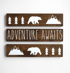 Excited to share the latest addition to my #etsy shop: Woodland Nursery Decor, Adventure Awaits Sign, Mountain Nursery Decor, Baby Bear Nursery Decor, Adventure Nursery Decor SET of 3 SIGNS http://etsy.me/2pyM7fU #housewares #homedecor #babyshower #kids #naturenurseryd