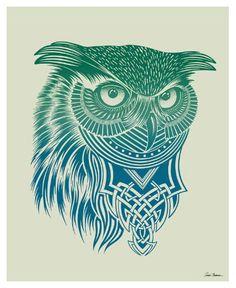 Warrior Owl Posters that Stick, 28 x 35 - casa.com