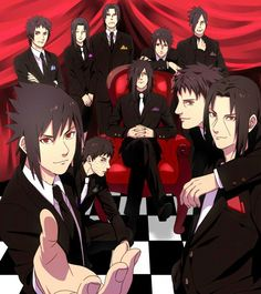 Uchiha Clan, suits, Sasuke, Itachi, Shisui, Izuna, Obito, Madara, Fugaku, Mikoto; Naruto