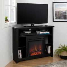 Walker Edison Furniture Company Wood Corner Fireplace TV Stand - Black - The Home Depot Corner Fireplace Tv Stand, Corner Tv Console, Corner Tv Cabinets, Fireplace Console, Electric Fireplace Tv Stand, Fireplace Furniture, Tv Stand Plans, Living Room Entertainment Center, Accent Walls In Living Room