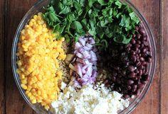 Quinoa Salad - Corn, Spinach, Black Beans, Feta, Onions.